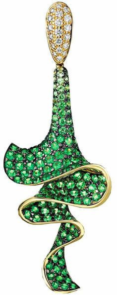 Tsavorite and diamond earrings by Rodney Rayner