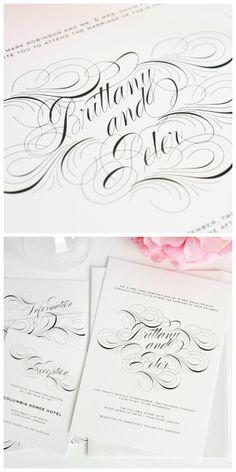 Luxe Flourish Wedding Invitations in Black and White sarah winter, wedding invitations, black white, winter weddings