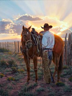 The cowboy and his horse...  A cowboy to be the ranch foreman.