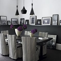 black and purple dinning room