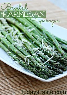 One of the easiest side dishes you will ever make: Broiled Parmesan Asparagus from www.todaystoaste.com #asparagus #sidedish