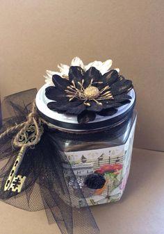 Shabby chic decorative jar on Etsy, $8.00