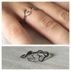Twisted Silver Heart RIng: A ring made using pliers, a wire cutter, and 2 paper clips.  Difficulty: Medium