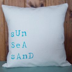 Sun Sea Sand Decorative Pillow Cover 16 x by NorthCountryComforts, $20.00