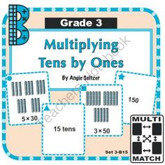 Multi-Match Game Cards 3B: Multiplying Tens by Ones from K-8 MathPaths on TeachersNotebook.com -  (9 pages)  - This $1 set of printable game cards will provide practice with multiplying tens by ones, called for by CCSS 3.NBT.3. Students will use models and place value.