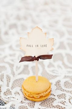 """I love this as a """"theme"""" for your wedding...not a fan of the mini burger, but the sign is adorable. FALL in Love."""