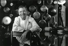 Jacques Pepin's wall of pots.