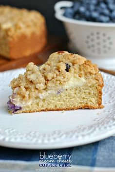 Delicious Coffee cake with a ribbon of cream cheese and fresh blueberries! #breakfast