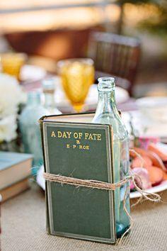book centerpiec, galleri, floral design, photo shoot, wine bottles, books centerpiece, flower, diet coke, old books