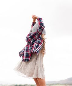 Feminine dress with lumber shirt and wooly hat, love the mixture! #estella #kids #fashion