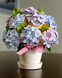 Now you can have your (hydrangea) cake, and eat it, too! cake wrecks, cupcake bouquets, mothers day, flower bouquets, flower pots, flower cupcakes, hydrangea, cupcake cakes, sugar flowers