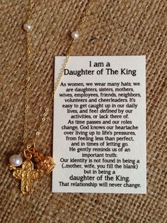 Daughter of the King, Religious Necklace, Christian, Gold Vermeil Cross Crown, Graduation, Daughter, Sister, Mother, Friend Gift christian graduates, christian friends, gifts for christian women, king idea, womens retreat favors, favor idea, card, daughters, daughter of the king