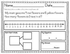 Sums to 20: Represent Answer in 4 ways!  First Grade Common Core Aligned!$
