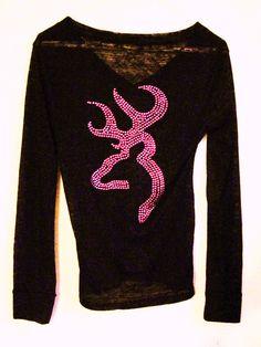 Absolutely Stunning Hot Pink Rhinestone Browning Black Long/Short Sleeve Burnout Shirt Size S,M,L. $26.00, via Etsy.