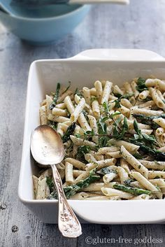 Lemon Infused Pasta Salad with Fresh Herbs and Grilled Asparagus - Gluten Free