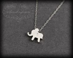 The Lucky Elephant . Sterling Silver Elephant Necklace .  Personalized Necklace . Elephant Initial Necklace . Elephant Jewelry . Custom Gift. $30.00, via Etsy.