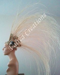 Niau Blanc tall tahitian dance head piece