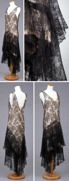 Evening dress by Callot Soeurs, circa  1929. Black Chantilly lace over dress with cream silk satin under dress. Over dress has two-tiered ruffle, uneven hem, and V-neckline. Under dress has net yoke. Via Goldstein Museum of Design, Univ. of Minnesota.