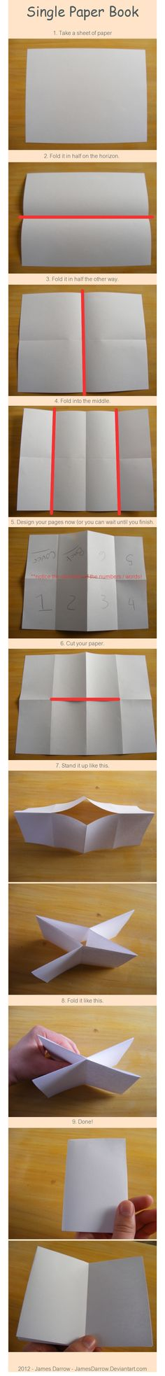 Single sheet of paper = mini book (end result has four flaps including cover and back cover)