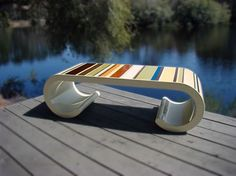 Striped outdoor bench.