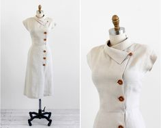spring soon :) vintage 1940s dress / 40s dress / Natural Linen Wiggle Dress with Asymmetrical Collar. $246.00, via Etsy.