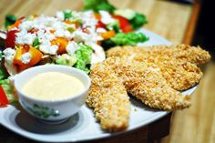 Baked chicken strips.  These would be a quick and easy lunch for the kids.  We love chicken strips but they are usually sooo bad for you.