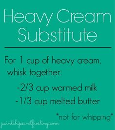 Heavy Cream Substitute - Good to know! My family is always needing heavy cream #foods