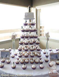 "Design W 0561 | 8"" Square Fondant Wedding Cake & Assorted Cupcakes | Square cupcake stand | Custom Quote"