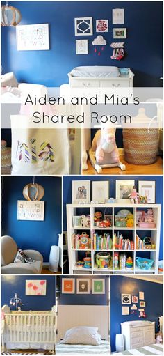 Shared blue boy and girl, baby and toddler room