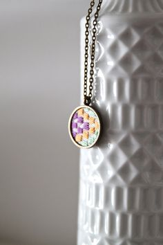 Embroidered multi coloured squares necklace | BylinaStudio