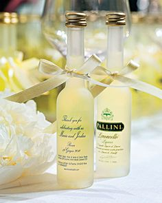 bottles of limoncello, personalized with wedding date given as favors