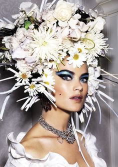 ❀ Flower Maiden Fantasy ❀ beautiful photography of women and flowers - V Magazine no. 73. Photo by Mario Testino