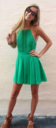 Kelly green sun dress