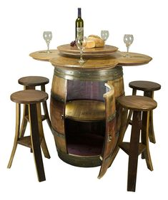 Wine Barrel Cabinet Table with stools.  Made in the USA!