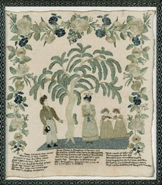 272: A VERY FINE NEEDLEWORK SAMPLER AND FAMILY RECORD, JANE GLENN, MRS. BUCHANAN'S SCHOOL, MARIETTA, PENNSYLVANIA, DATED 1