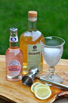 Rosy Rhubarb Lemonade Cocktail Setup