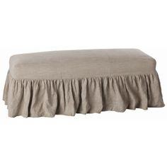 Arteriors Avebury Upholstered Natural Linen Wood Bench, available at #polkadotpeacock. #peacocklove #arteriors