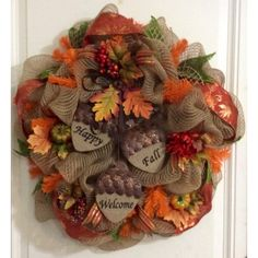 Happy Fall Welcome Deco Mesh Wreath posted on Craftoutlet.com photo contest
