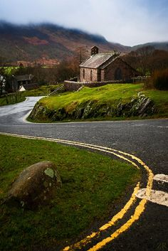 <3 Take the Road That Winds in the Front of that Charming Stone House.  #cottage #road #country #scenic
