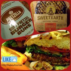 Yummy @sweetearthfoods Teriyaki Burgers on pretzilla buns! Another quick, easy & tasty #Vegan Dinner Idea! #MyVeganJournal