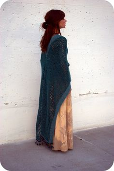 MADE TO ORDER, Crochet Poncho Cape, Color Emerald and Turquoise, Maxi Shawl