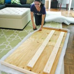 DIY Upholstered Headboard- love her and her family pics....oh and the instructions!