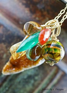 oOo SALE oOo  60 off  Glass Lampwork Citrine by JewelsByLDesigns, $52.00
