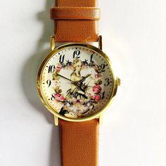 Floral Watch, Marie Antoinette,  Vintage Style Leather Watch, Women Watches,  Boyfriend Watch, Black, Tan, White on Etsy, $10.00
