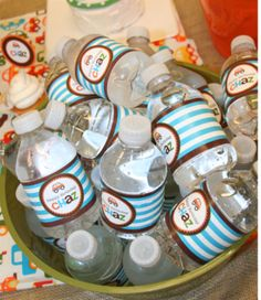 birthday parties, waterproof bottl, water bottle labels, parti water, parti plan