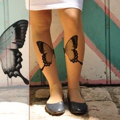 womens clothing - Tattoo Tights - BUTTERFLY  on my legs - size  S / M / L / XL  full length Sheer Pantyhose- light mocha or gray. $23.00, via Etsy.