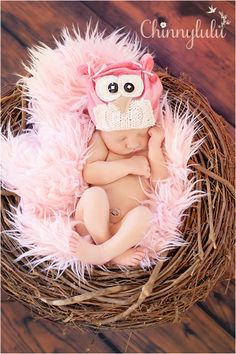Newborn Baby Girl/Upcycled/Pink/Cream Owl Hat/Photo by pinkiebows, $15.00