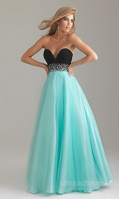 a blue and black long dress it is black on the top then in the middle there is a sparkler middle then there is a light blue at the bottom pretty dress to wear to the prom........