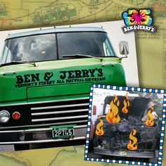 """In 1986, Ben and Jerry got into their """"Cowmobile"""" and drove across the United States handing out free Ben & Jerry's. Sadly, it burned to the ground on the way home. Ben said it looked like a giant Baked Alaska!"""