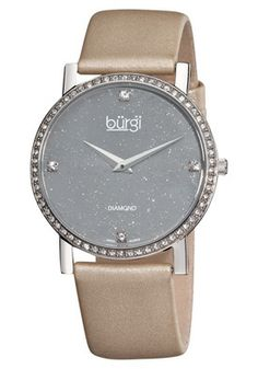 Women's White Diamond Silver Dial Grey Satin